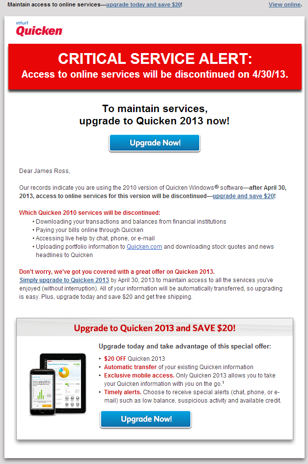 Quicken critical service alert